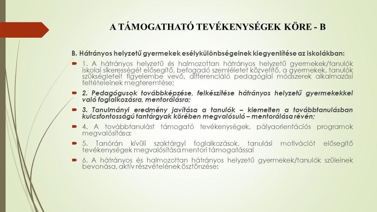 A PROJEKT MEGVALÓSÍTÁSA F.