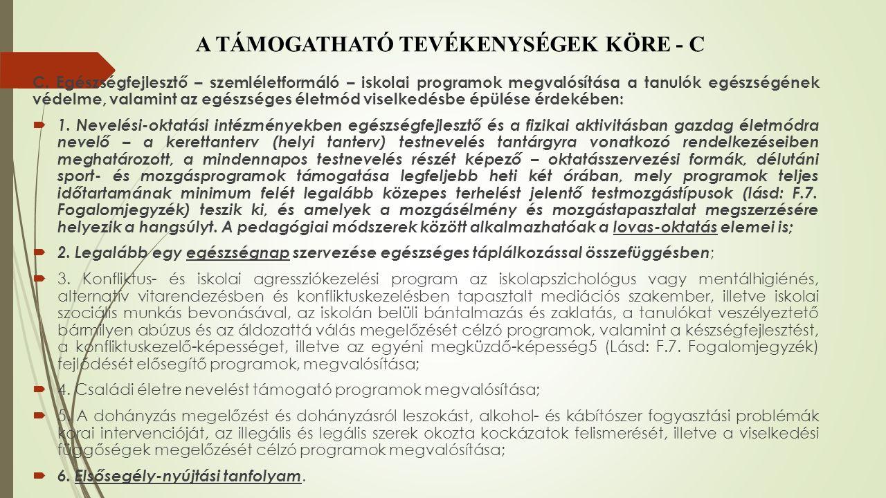 A TÁMOGATHATÓ TEVÉKENYSÉGEK KÖRE - C C.