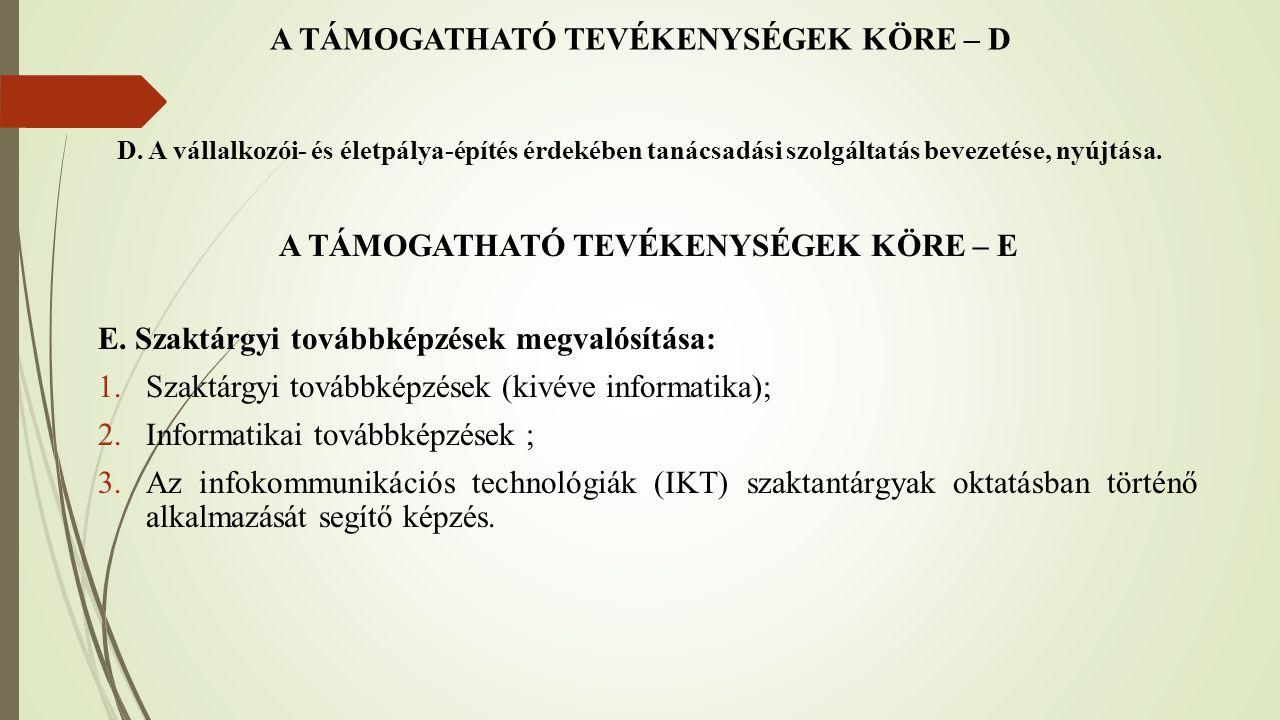 A TÁMOGATHATÓ TEVÉKENYSÉGEK KÖRE – F F.
