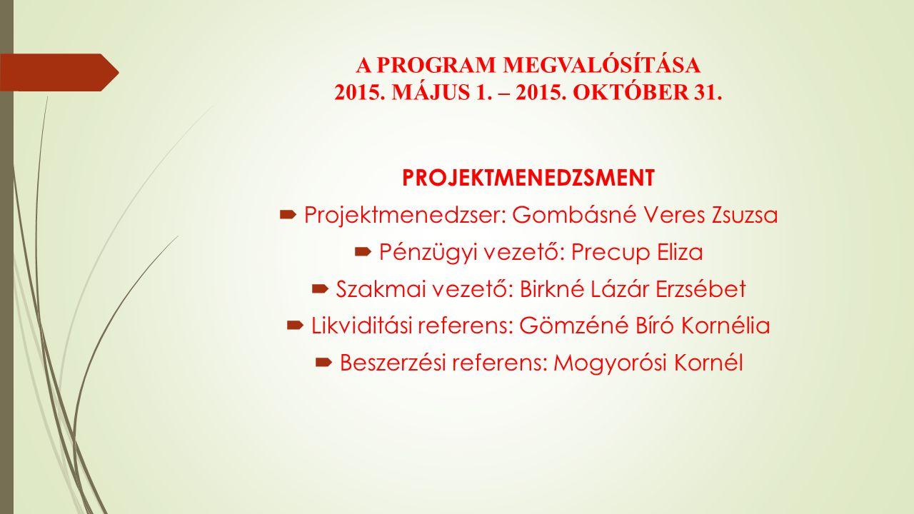 A PROGRAM MEGVALÓSÍTÁSA 2015. MÁJUS 1. – 2015. OKTÓBER 31.