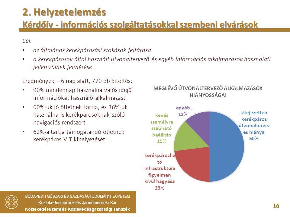 10 Cél: az általános kerékpározási szokások feltárása a kerékpárosok által használt útvonaltervező és egyéb információs alkalmazások használati jellemzőinek felmérése BUDAPESTI MŰSZAKI ÉS GAZDASÁGTUDOMÁNYI EGYETEM Közlekedésmérnöki és Járműmérnöki Kar Közlekedésüzemi és Közlekedésgazdasági Tanszék 2.