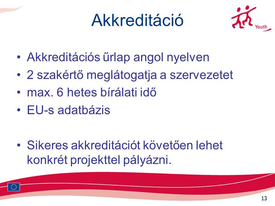 13 Akkreditáció Akkreditációs űrlap angol nyelven 2 szakértő meglátogatja a szervezetet max.
