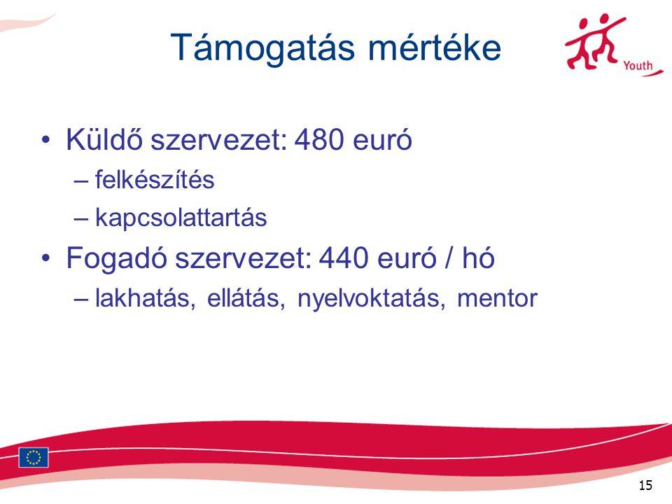 15 Támogatás mértéke Küldő szervezet: 480 euró –felkészítés –kapcsolattartás Fogadó szervezet: 440 euró / hó –lakhatás, ellátás, nyelvoktatás, mentor