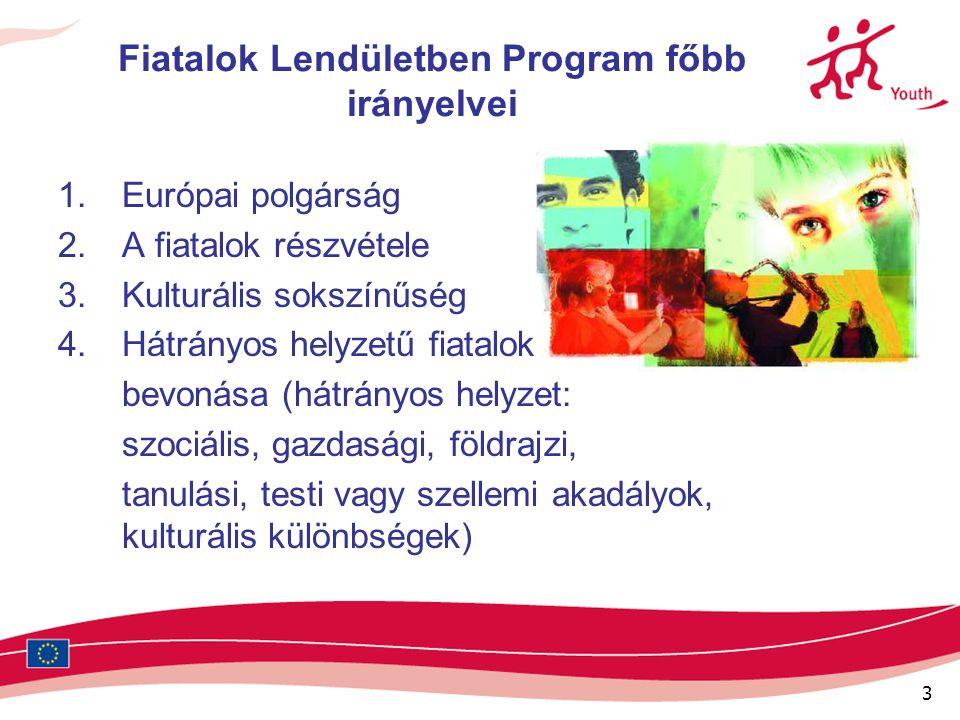 3 Fiatalok Lendületben Program főbb irányelvei 1.Európai polgárság 2.A fiatalok részvétele 3.Kulturális sokszínűség 4.Hátrányos helyzetű fiatalok bevonása (hátrányos helyzet: szociális, gazdasági, földrajzi, tanulási, testi vagy szellemi akadályok, kulturális különbségek)
