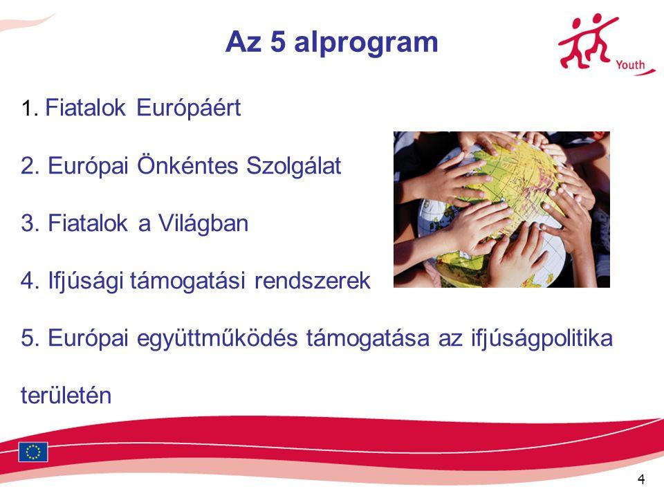 4 Az 5 alprogram 1. Fiatalok Európáért 2. Európai Önkéntes Szolgálat 3.