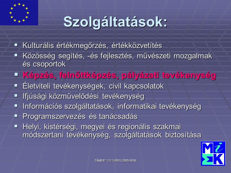 TÁMOP 3.2.3-09/1 2009-0016 Szolgáltatások:  Kulturális értékmegőrzés, értékközvetítés  Közösség segítés, -és fejlesztés, művészeti mozgalmak és csoportok  Képzés, felnőttképzés, pályázati tevékenység  Életviteli tevékenységek, civil kapcsolatok  Ifjúsági közművelődési tevékenység  Információs szolgáltatások, informatikai tevékenység  Programszervezés és tanácsadás  Helyi, kistérségi, megyei és regionális szakmai módszertani tevékenység, szolgáltatások biztosítása