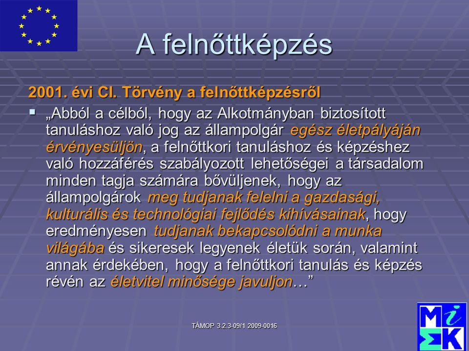 TÁMOP 3.2.3-09/1 2009-0016 A felnőttképzés 2001. évi CI.