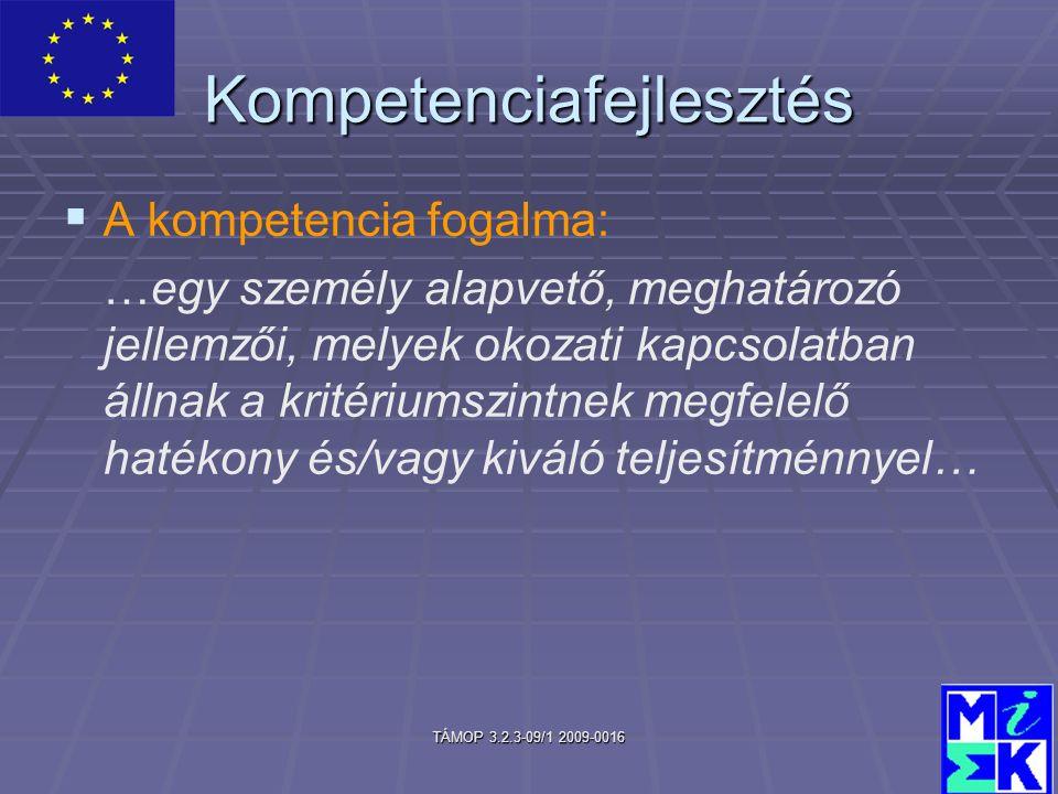 TÁMOP 3.2.3-09/1 2009-0016 Kompetenciafejlesztés   A kompetencia fogalma: …egy személy alapvető, meghatározó jellemzői, melyek okozati kapcsolatban állnak a kritériumszintnek megfelelő hatékony és/vagy kiváló teljesítménnyel…