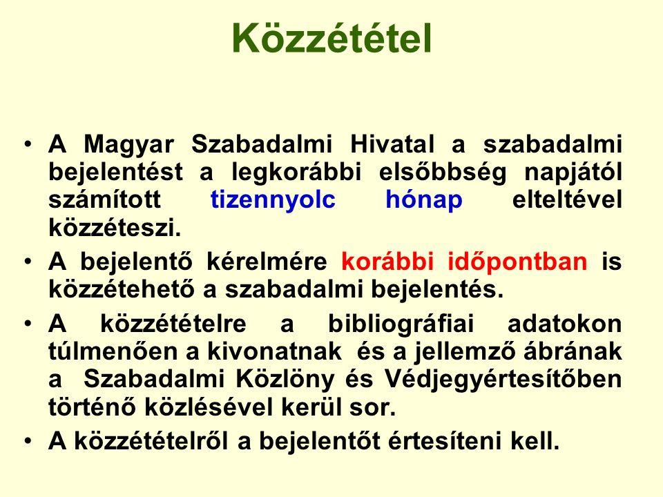 Közzététel A Magyar Szabadalmi Hivatal a szabadalmi bejelentést a legkorábbi elsőbbség napjától számított tizennyolc hónap elteltével közzéteszi. A be