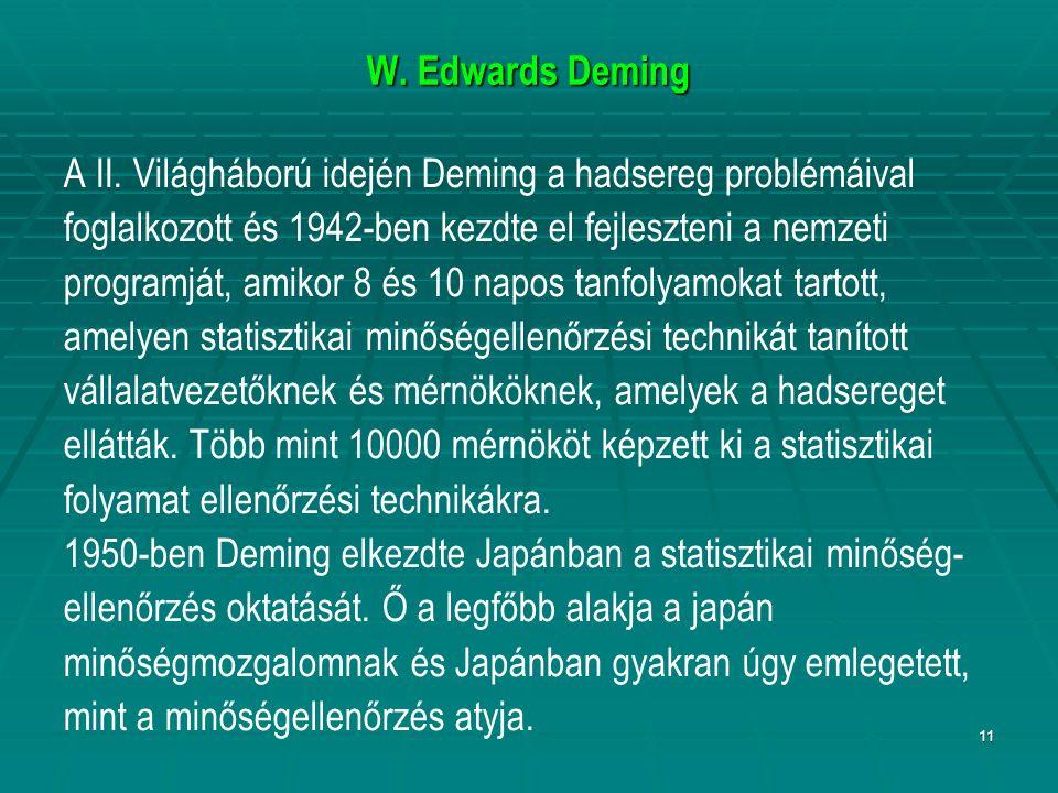 11 W. Edwards Deming A II. Világháború idején Deming a hadsereg problémáival foglalkozott és 1942-ben kezdte el fejleszteni a nemzeti programját, amik