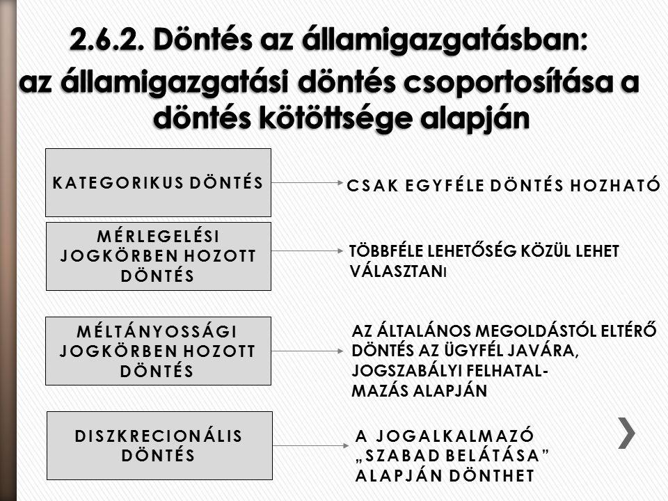 """CSAK EGYFÉLE DÖNTÉS HOZHATÓ TÖBBFÉLE LEHETŐSÉG KÖZÜL LEHET VÁLASZTAN I AZ ÁLTALÁNOS MEGOLDÁSTÓL ELTÉRŐ DÖNTÉS AZ ÜGYFÉL JAVÁRA, JOGSZABÁLYI FELHATAL- MAZÁS ALAPJÁN A JOGALKALMAZÓ """"SZABAD BELÁTÁSA ALAPJÁN DÖNTHET KATEGORIKUS DÖNTÉS MÉRLEGELÉSI JOGKÖRBEN HOZOTT DÖNTÉS MÉLTÁNYOSSÁGI JOGKÖRBEN HOZOTT DÖNTÉS DISZKRECIONÁLIS DÖNTÉS"""