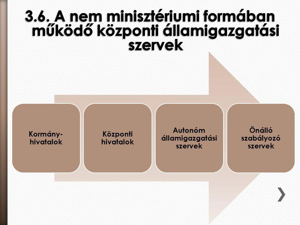 Kormány- hivatalok Központi hivatalok Autonóm államigazgatási szervek Önálló szabályozó szervek