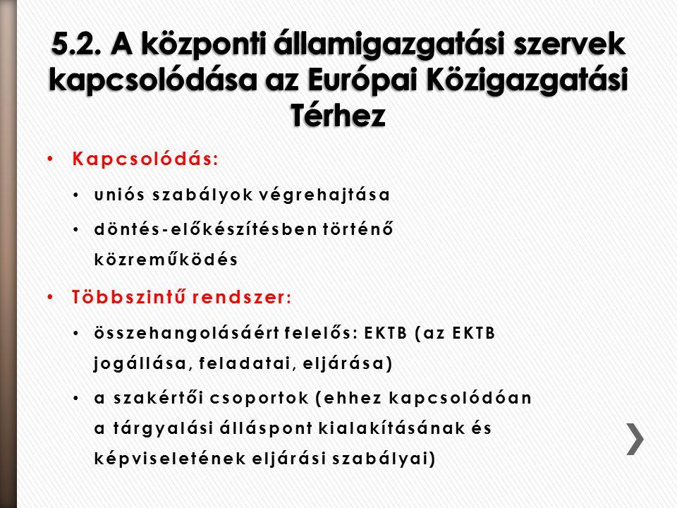 Kapcsolódás: uniós szabályok végrehajtása döntés-előkészítésben történő közreműködés Többszintű rendszer : összehangolásáért felelős: EKTB (az EKTB jogállása, feladatai, eljárása) a szakértői csoportok (ehhez kapcsolódóan a tárgyalási álláspont kialakításának és képviseletének eljárási szabályai)