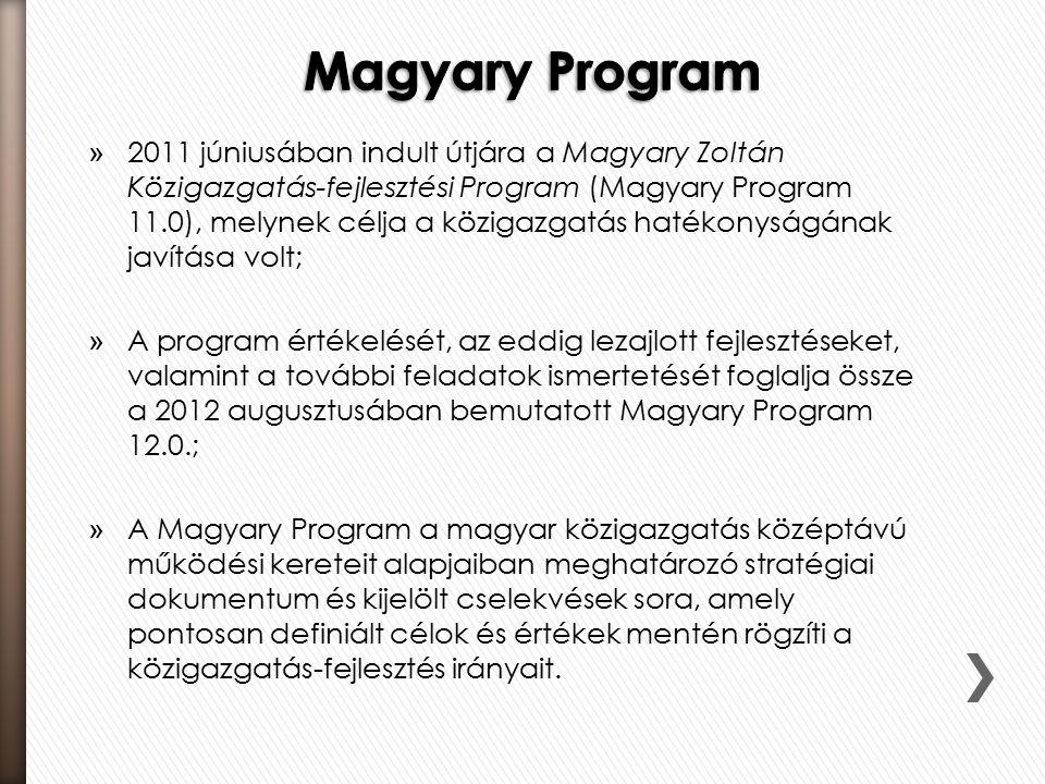 » 2011 júniusában indult útjára a Magyary Zoltán Közigazgatás-fejlesztési Program (Magyary Program 11.0), melynek célja a közigazgatás hatékonyságának javítása volt; » A program értékelését, az eddig lezajlott fejlesztéseket, valamint a további feladatok ismertetését foglalja össze a 2012 augusztusában bemutatott Magyary Program 12.0.; » A Magyary Program a magyar közigazgatás középtávú működési kereteit alapjaiban meghatározó stratégiai dokumentum és kijelölt cselekvések sora, amely pontosan definiált célok és értékek mentén rögzíti a közigazgatás-fejlesztés irányait.