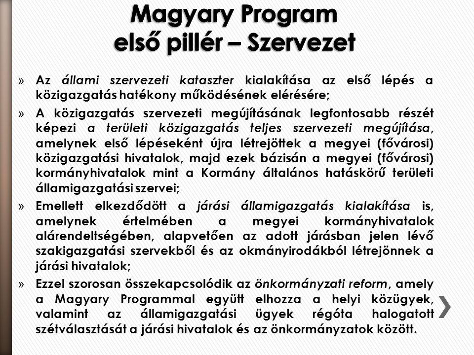 » Az állami szervezeti kataszter kialakítása az első lépés a közigazgatás hatékony működésének elérésére; » A közigazgatás szervezeti megújításának legfontosabb részét képezi a területi közigazgatás teljes szervezeti megújítása, amelynek első lépéseként újra létrejöttek a megyei (fővárosi) közigazgatási hivatalok, majd ezek bázisán a megyei (fővárosi) kormányhivatalok mint a Kormány általános hatáskörű területi államigazgatási szervei; » Emellett elkezdődött a járási államigazgatás kialakítása is, amelynek értelmében a megyei kormányhivatalok alárendeltségében, alapvetően az adott járásban jelen lévő szakigazgatási szervekből és az okmányirodákból létrejönnek a járási hivatalok; » Ezzel szorosan összekapcsolódik az önkormányzati reform, amely a Magyary Programmal együtt elhozza a helyi közügyek, valamint az államigazgatási ügyek régóta halogatott szétválasztását a járási hivatalok és az önkormányzatok között.