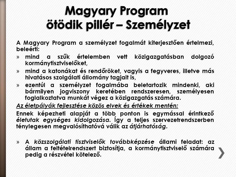 A Magyary Program a személyzet fogalmát kiterjesztően értelmezi, beleérti: » mind a szűk értelemben vett közigazgatásban dolgozó kormánytisztviselőket