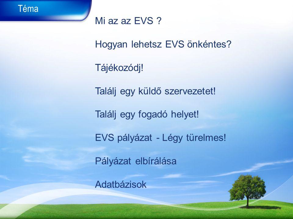 Téma Mi az az EVS .Hogyan lehetsz EVS önkéntes. Tájékozódj.