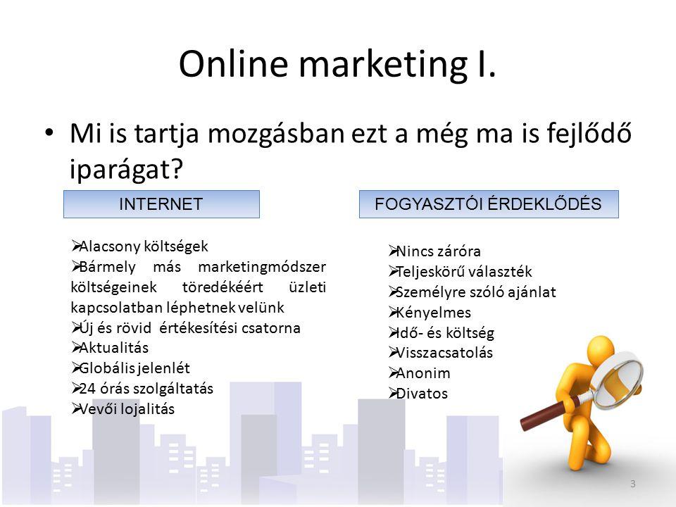 Online marketing II.Offline (hagyományos) Online (interaktív)Vs.