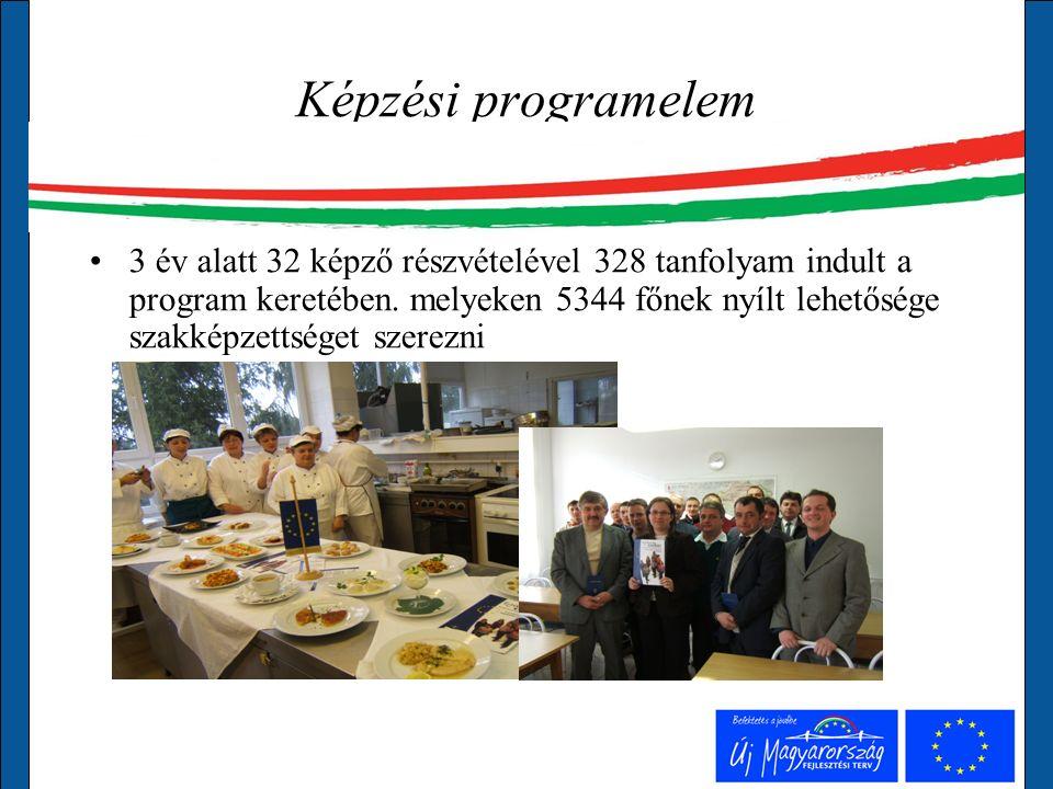 Képzési programelem 3 év alatt 32 képző részvételével 328 tanfolyam indult a program keretében.