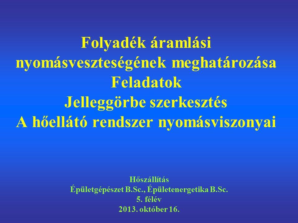 Folyadék áramlási nyomásveszteségének meghatározása Feladatok Jelleggörbe szerkesztés A hőellátó rendszer nyomásviszonyai Hőszállítás Épületgépészet B.Sc., Épületenergetika B.Sc.