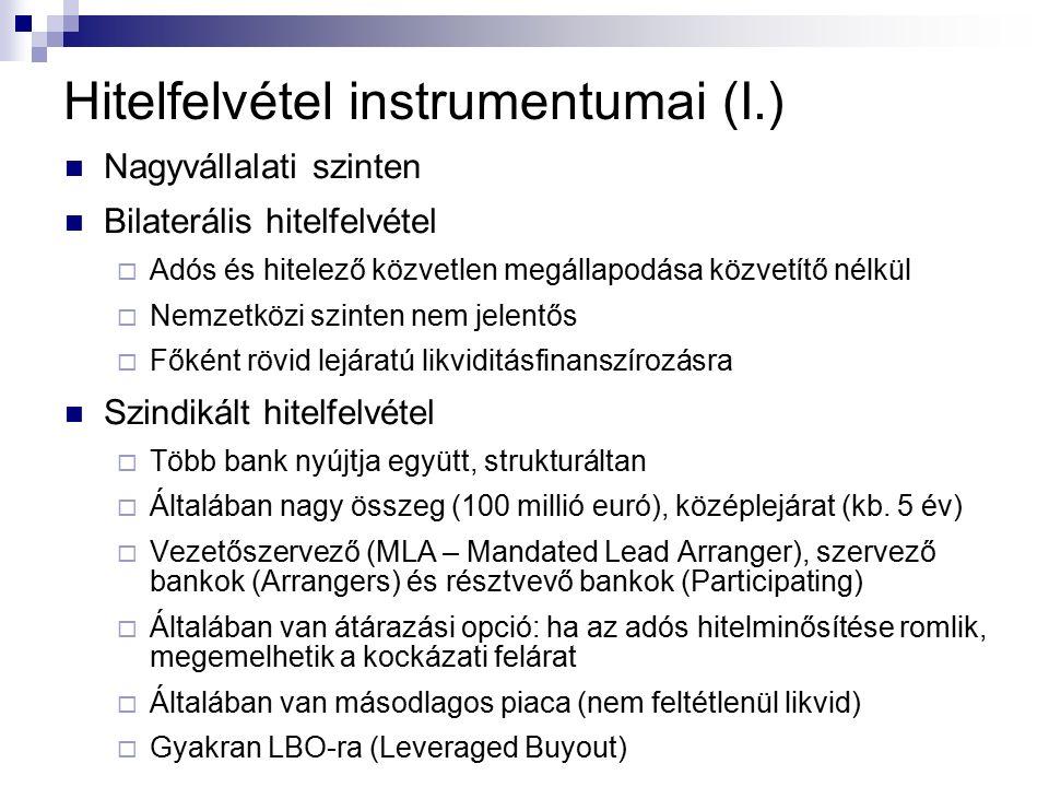 Hitelfelvétel instrumentumai (I.) Nagyvállalati szinten Bilaterális hitelfelvétel  Adós és hitelező közvetlen megállapodása közvetítő nélkül  Nemzetközi szinten nem jelentős  Főként rövid lejáratú likviditásfinanszírozásra Szindikált hitelfelvétel  Több bank nyújtja együtt, strukturáltan  Általában nagy összeg (100 millió euró), középlejárat (kb.