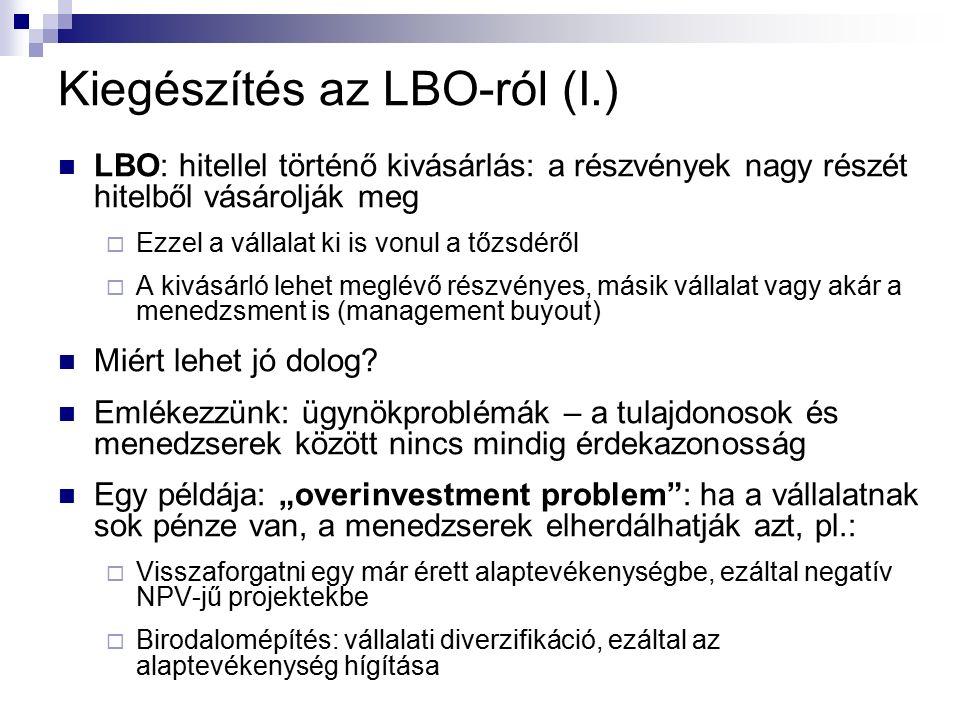 Kiegészítés az LBO-ról (I.) LBO: hitellel történő kivásárlás: a részvények nagy részét hitelből vásárolják meg  Ezzel a vállalat ki is vonul a tőzsdé