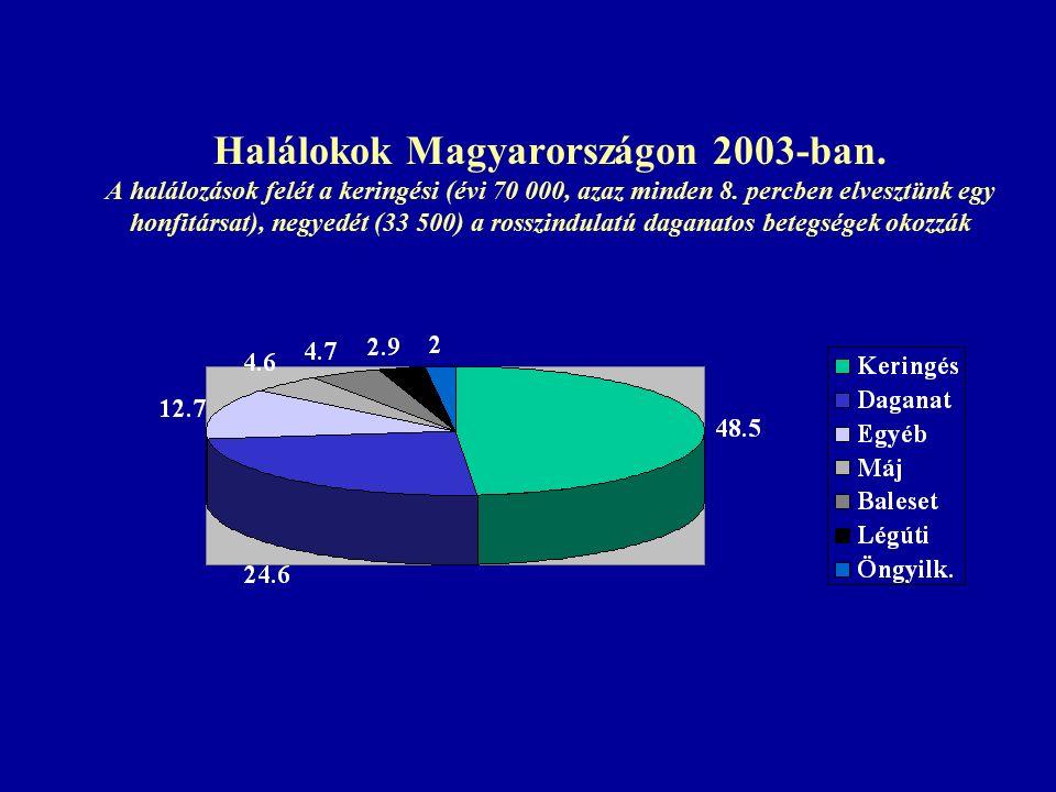 Halálokok Magyarországon 2003-ban. A halálozások felét a keringési (évi 70 000, azaz minden 8.