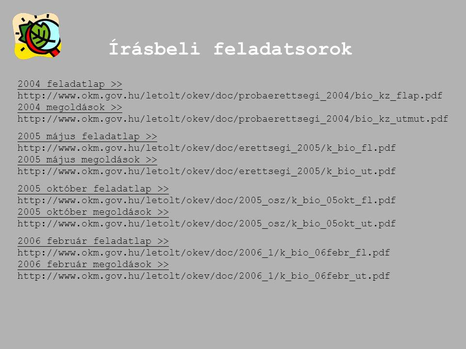 Írásbeli feladatsorok 2004 feladatlap >> http://www.okm.gov.hu/letolt/okev/doc/probaerettsegi_2004/bio_kz_flap.pdf 2004 megoldások >> http://www.okm.g
