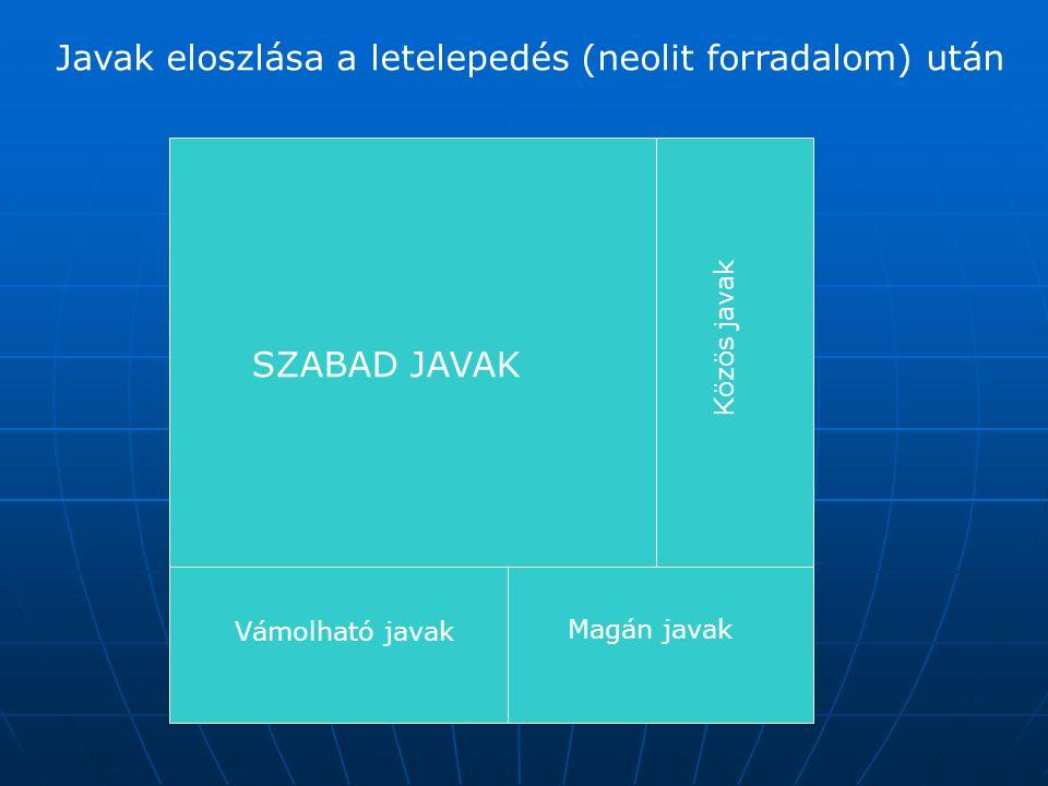 Javak eloszlása a letelepedés (neolit forradalom) után SZABAD JAVAK Vámolható javak Közös javak Magán javak