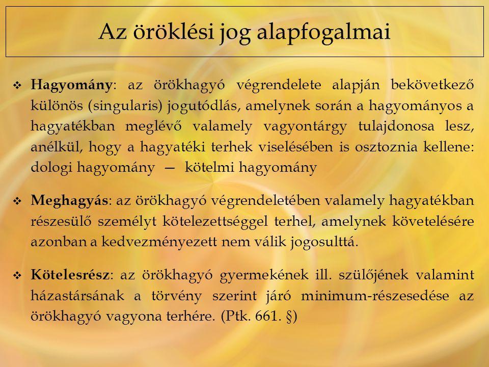 A hagyatéki tartozások sorrendje (Ptk.677.