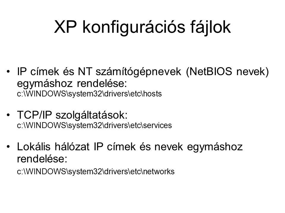 XP konfigurációs fájlok IP címek és NT számítógépnevek (NetBIOS nevek) egymáshoz rendelése: c:\WINDOWS\system32\drivers\etc\hosts TCP/IP szolgáltatások: c:\WINDOWS\system32\drivers\etc\services Lokális hálózat IP címek és nevek egymáshoz rendelése: c:\WINDOWS\system32\drivers\etc\networks