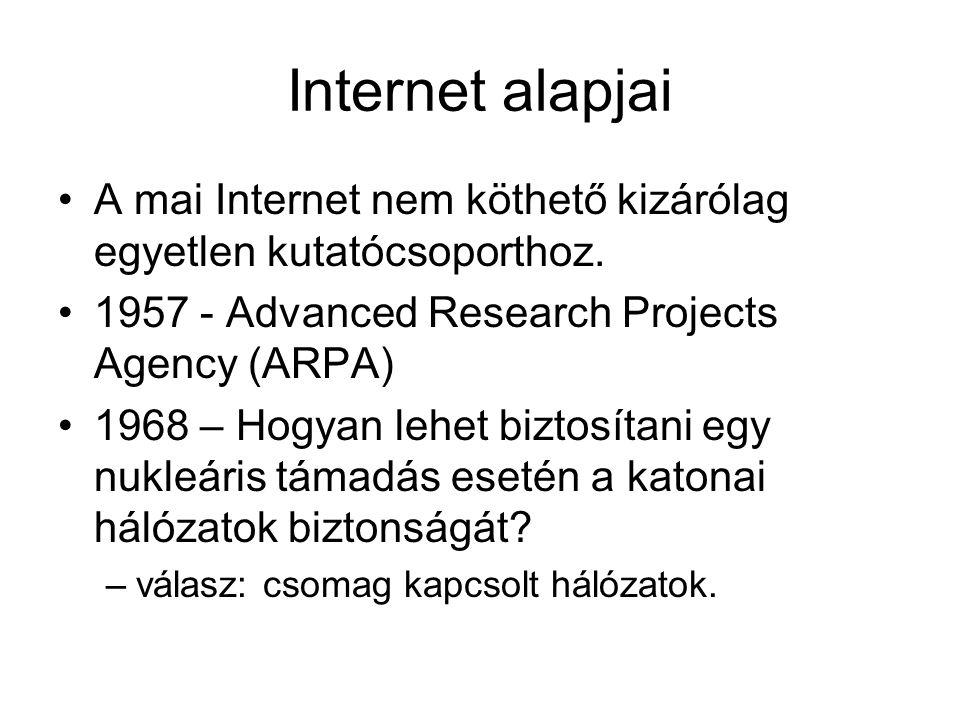 Internet alapjai A mai Internet nem köthető kizárólag egyetlen kutatócsoporthoz.