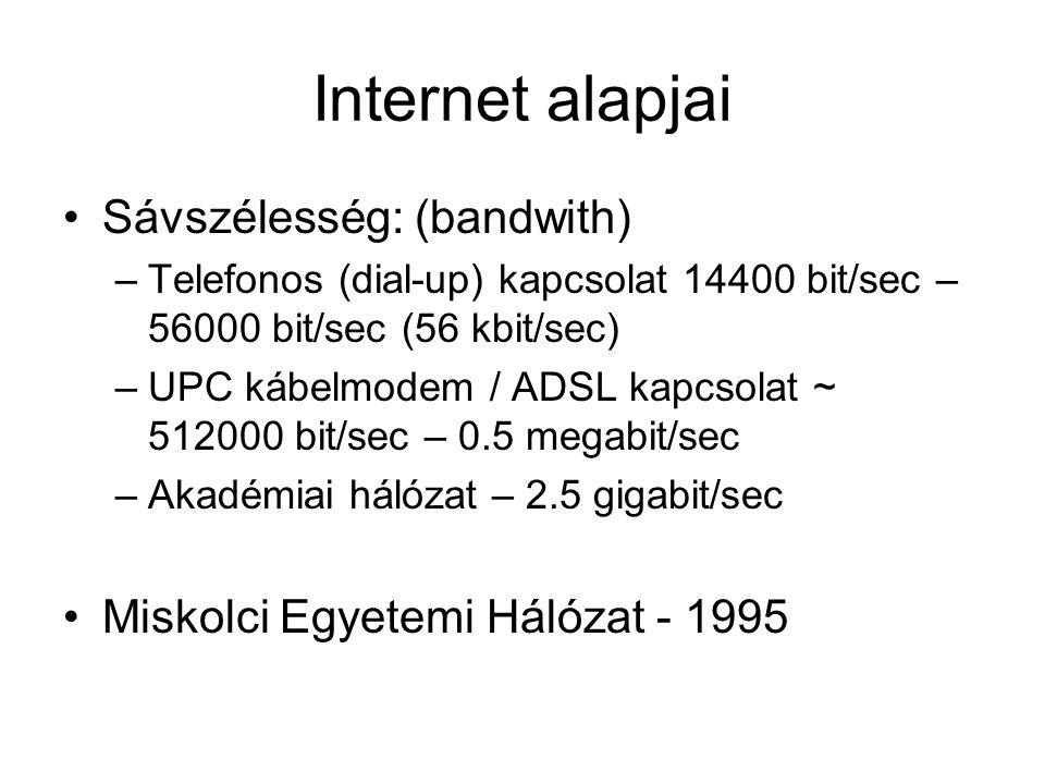 Internet alapjai Sávszélesség: (bandwith) –Telefonos (dial-up) kapcsolat 14400 bit/sec – 56000 bit/sec (56 kbit/sec) –UPC kábelmodem / ADSL kapcsolat ~ 512000 bit/sec – 0.5 megabit/sec –Akadémiai hálózat – 2.5 gigabit/sec Miskolci Egyetemi Hálózat - 1995