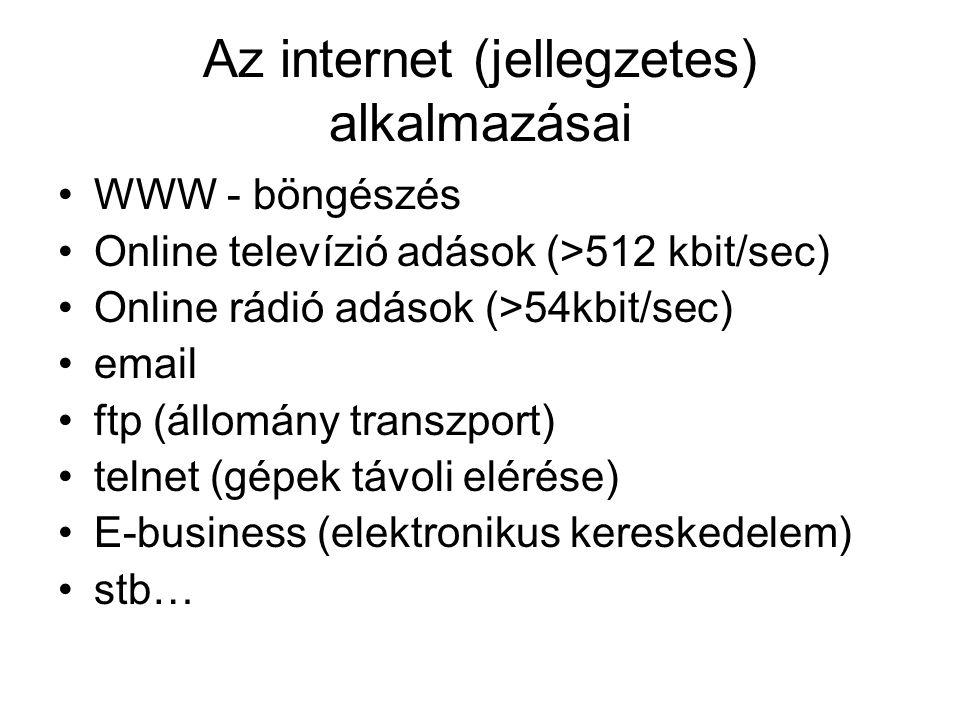 Az internet (jellegzetes) alkalmazásai WWW - böngészés Online televízió adások (>512 kbit/sec) Online rádió adások (>54kbit/sec) email ftp (állomány transzport) telnet (gépek távoli elérése) E-business (elektronikus kereskedelem) stb…