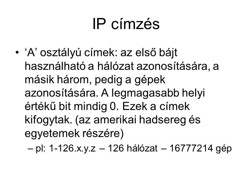IP címzés 'A' osztályú címek: az első bájt használható a hálózat azonosítására, a másik három, pedig a gépek azonosítására.
