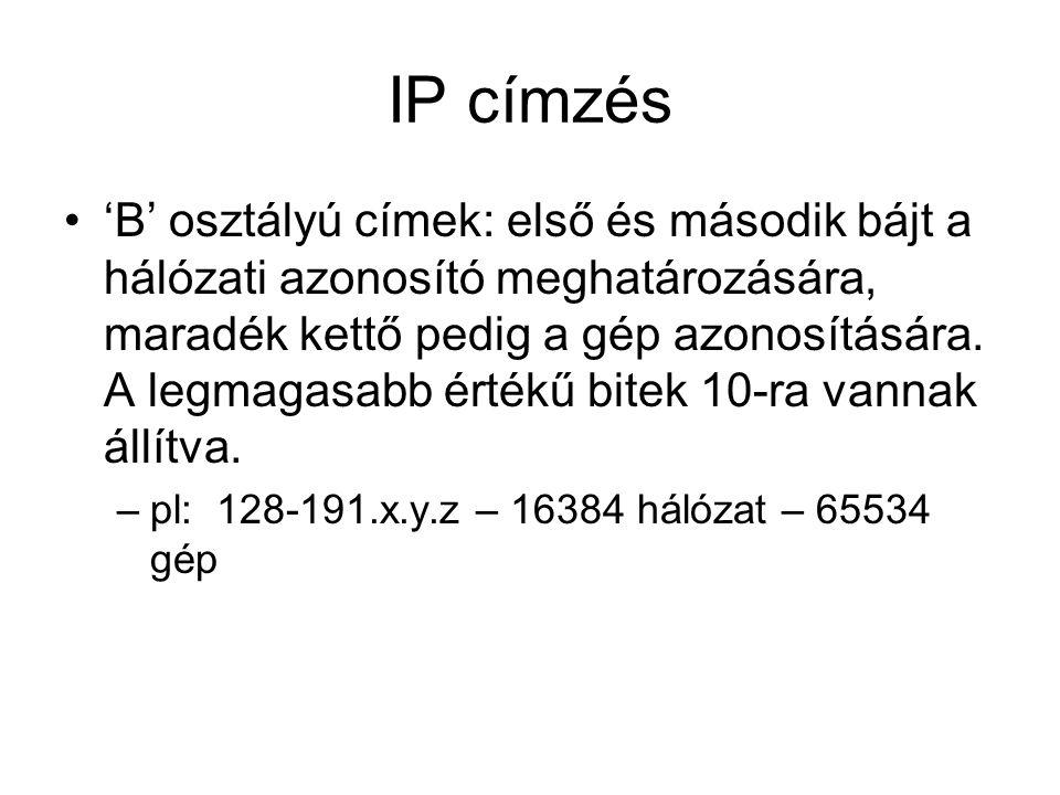 IP címzés 'B' osztályú címek: első és második bájt a hálózati azonosító meghatározására, maradék kettő pedig a gép azonosítására.