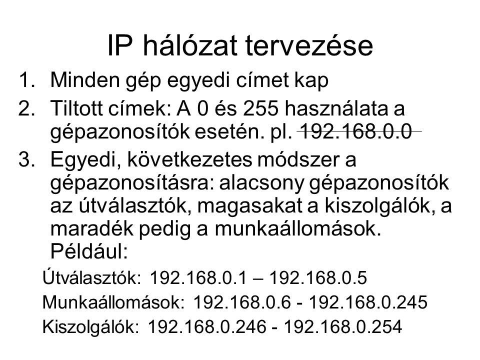 Hálózatok felosztása Alhálózati maszk (subnet mask): 32-bites szám amely megmutatja, hogy hány bit tartozik a hálózati azonosítóhoz.
