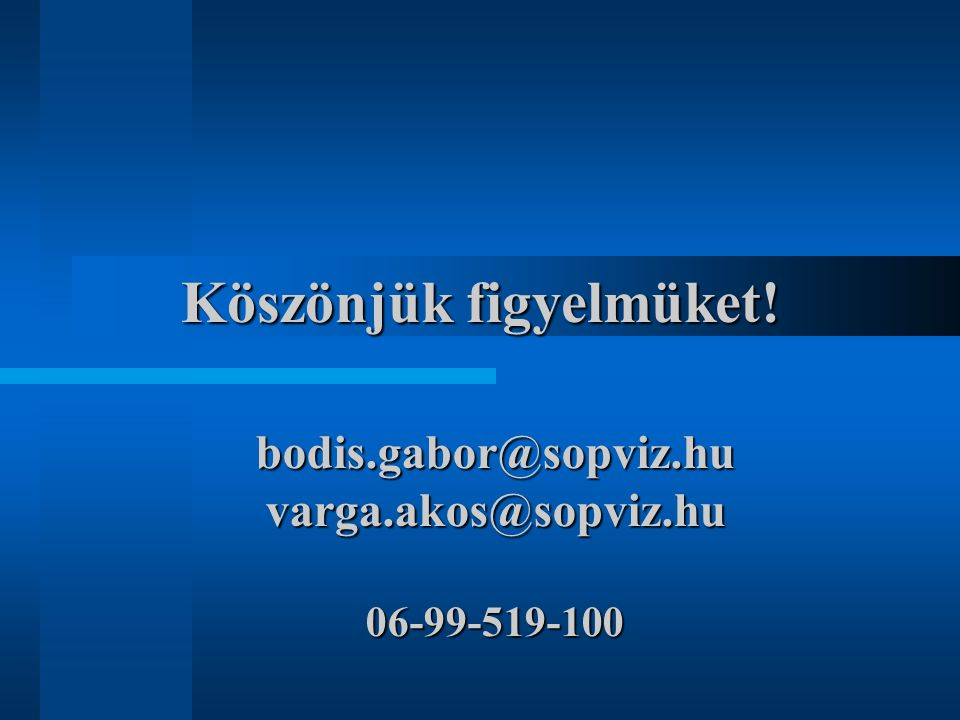 Köszönjük figyelmüket! bodis.gabor@sopviz.hu varga.akos@sopviz.hu 06-99-519-100
