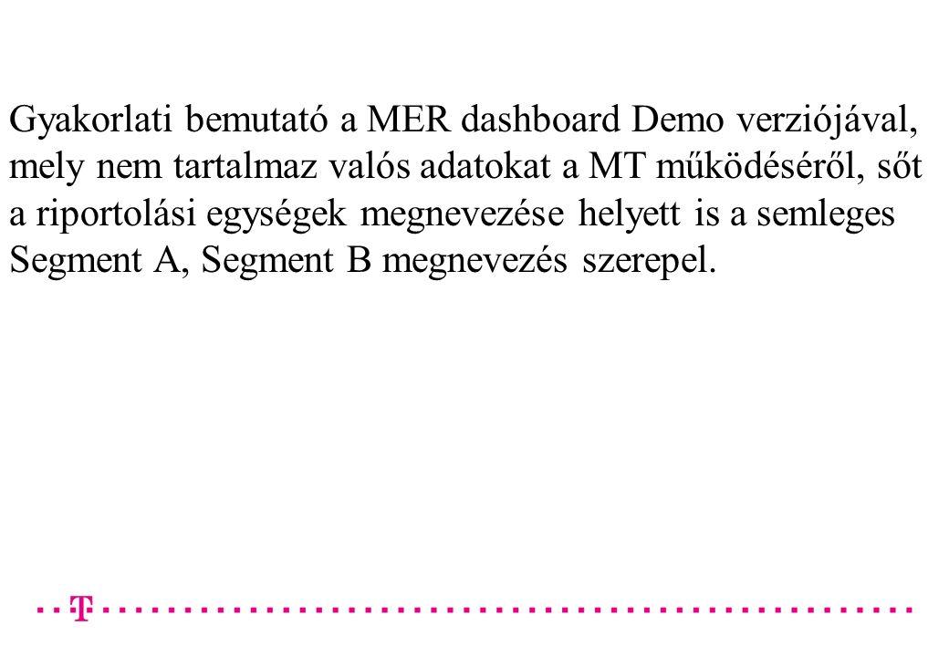 Gyakorlati bemutató a MER dashboard Demo verziójával, mely nem tartalmaz valós adatokat a MT működéséről, sőt a riportolási egységek megnevezése helyett is a semleges Segment A, Segment B megnevezés szerepel.