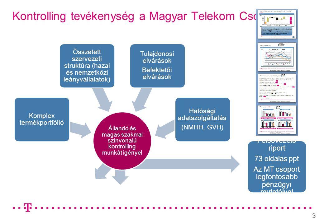 3 Kontrolling tevékenység a Magyar Telekom Csoportnál Felsővezető riport 73 oldalas ppt Az MT csoport legfontosabb pénzügyi mutatóival Állandó és magas szakmai színvonalú kontrolling munkát igényel Komplex termékportfólió Összetett szervezeti struktúra (hazai és nemzetközi leányvállalatok) Tulajdonosi elvárások Befektetői elvárások Hatósági adatszolgáltatás (NMHH, GVH)