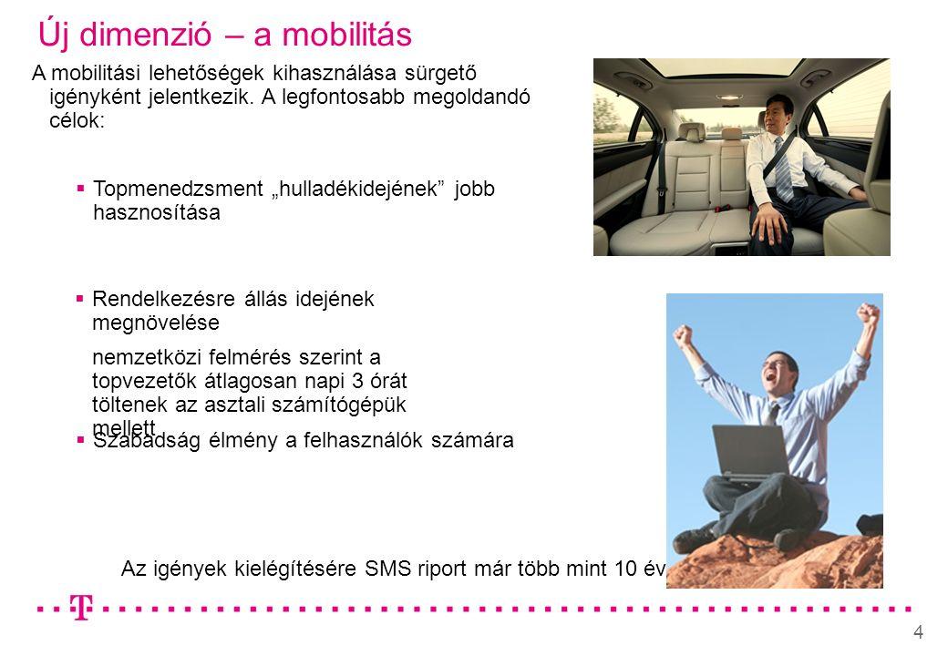 4 Új dimenzió – a mobilitás Az igények kielégítésére SMS riport már több mint 10 éve A mobilitási lehetőségek kihasználása sürgető igényként jelentkezik.