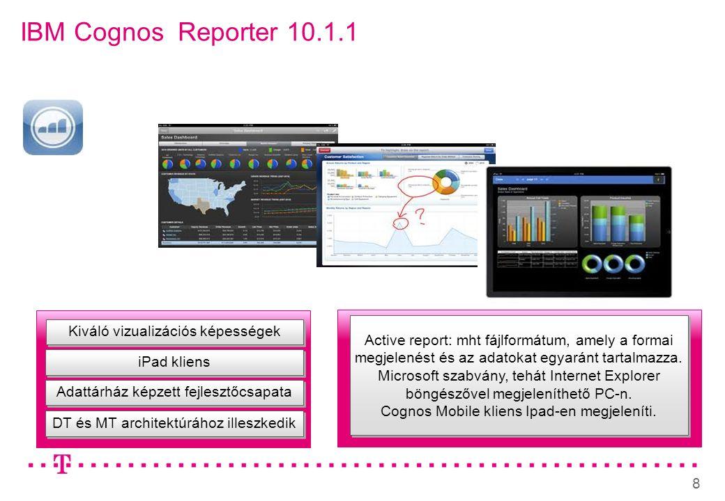 8 IBM Cognos Reporter 10.1.1 Adattárház képzett fejlesztőcsapata iPad kliens Active report: mht fájlformátum, amely a formai megjelenést és az adatokat egyaránt tartalmazza.