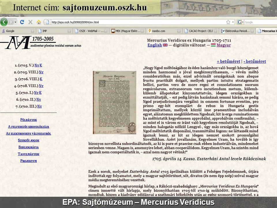 EPA akadálymentes felület efolyoirat.oszk.hu Internet cím: efolyoirat.oszk.hu