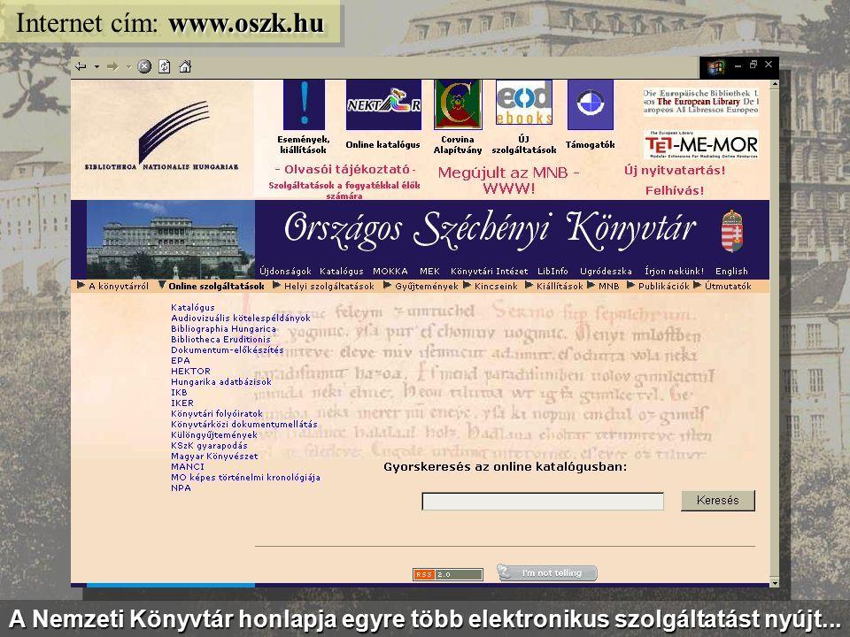 Az Országos Széchényi Könyvtár elektronikus szolgáltatásai