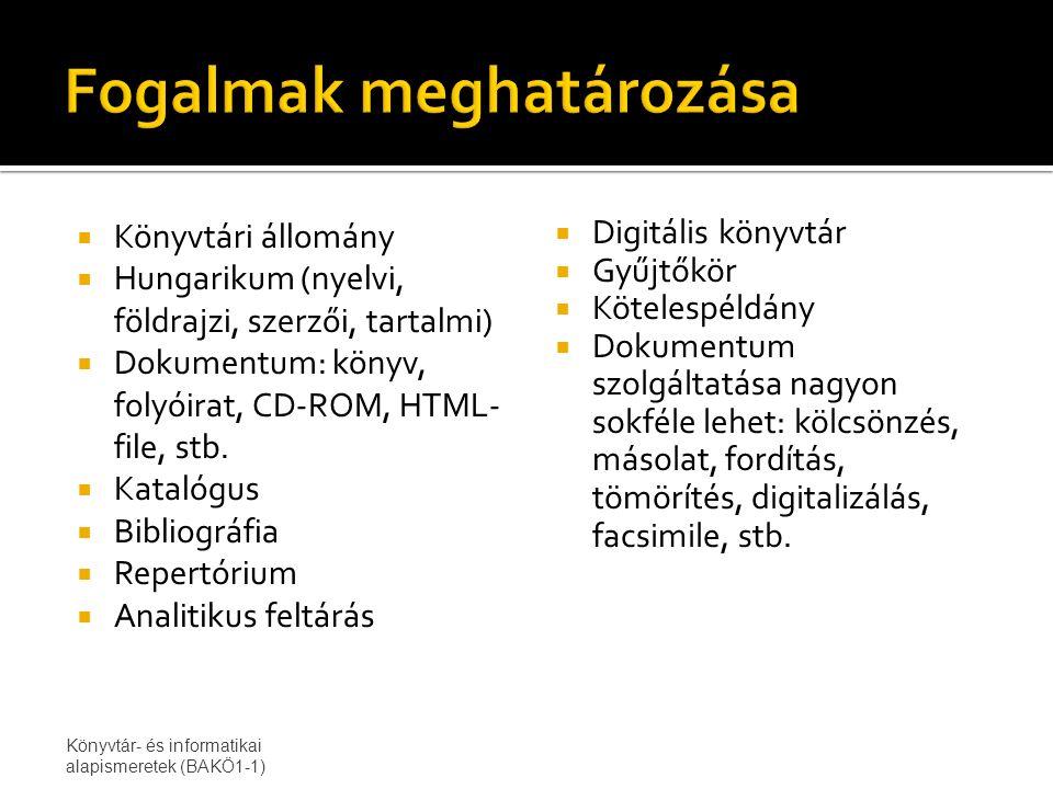  Könyvtári állomány  Hungarikum (nyelvi, földrajzi, szerzői, tartalmi)  Dokumentum: könyv, folyóirat, CD-ROM, HTML- file, stb.