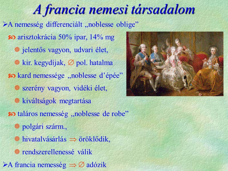 """A francia nemesi társadalom  A nemesség differenciált """"noblesse oblige""""  arisztokrácia 50% ipar, 14% mg  jelentős vagyon, udvari élet,  kir. kegyd"""