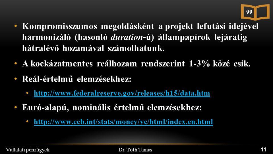 Dr. Tóth Tamás Vállalati pénzügyek 11 Kompromisszumos megoldásként a projekt lefutási idejével harmonizáló (hasonló duration-ú) állampapírok lejáratig
