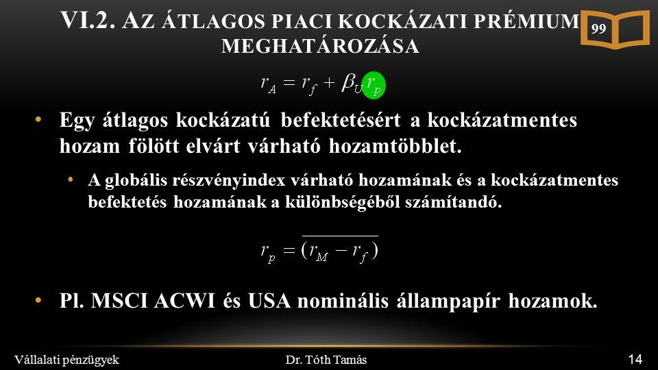 Dr. Tóth Tamás Vállalati pénzügyek 14 VI.2.
