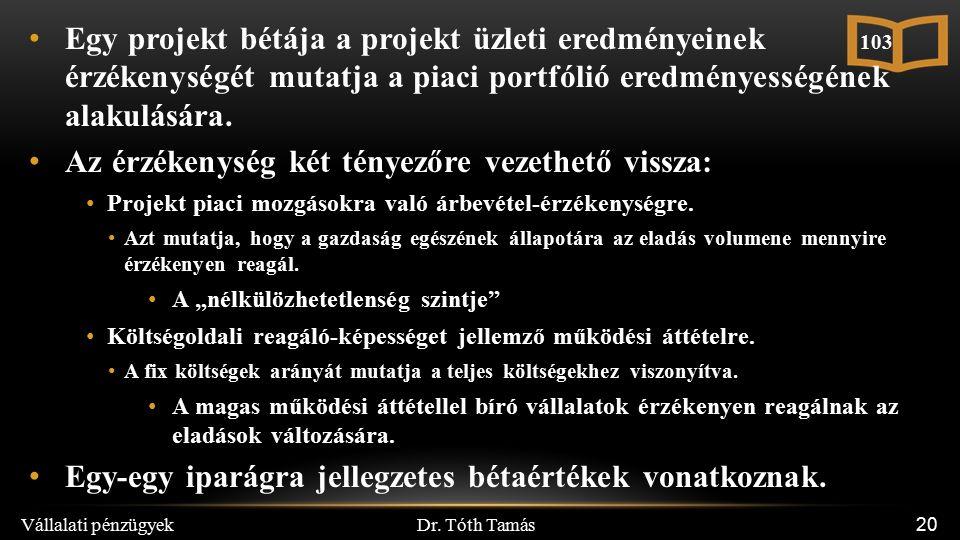 Dr. Tóth Tamás Vállalati pénzügyek 20 Egy projekt bétája a projekt üzleti eredményeinek érzékenységét mutatja a piaci portfólió eredményességének alak