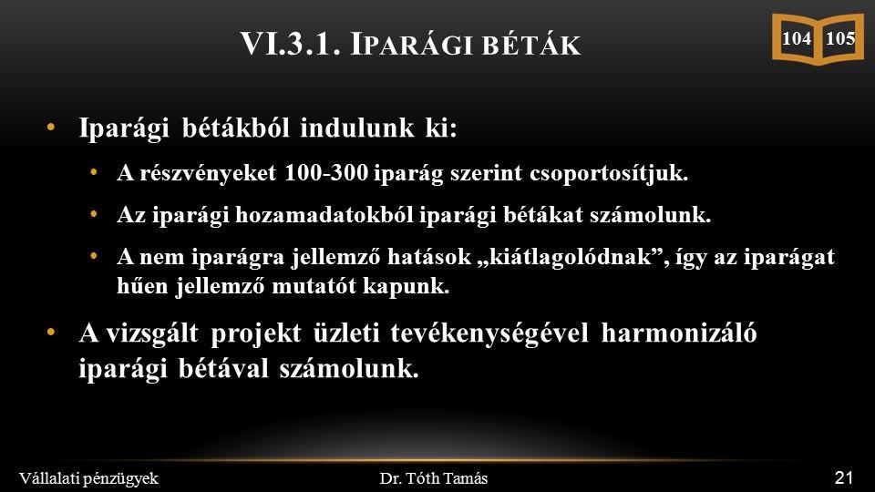 Dr. Tóth Tamás Vállalati pénzügyek 21 Iparági bétákból indulunk ki: A részvényeket 100-300 iparág szerint csoportosítjuk. Az iparági hozamadatokból ip